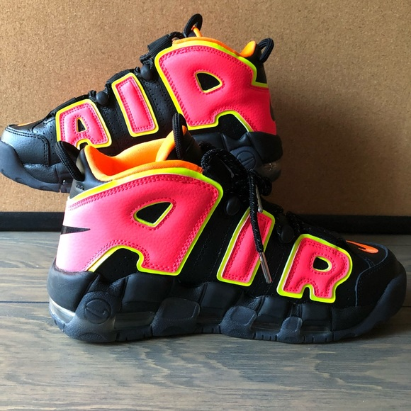 54405a7d07 Nike Shoes | Air More Uptempo Hot Punch Black Leather Volt | Poshmark